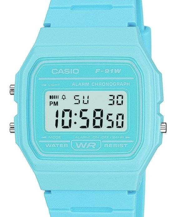 Casio Men's F-91WC-2AEF Quartz Watch with Digital Display and Resin Strap Blue Best Price and Cheapest