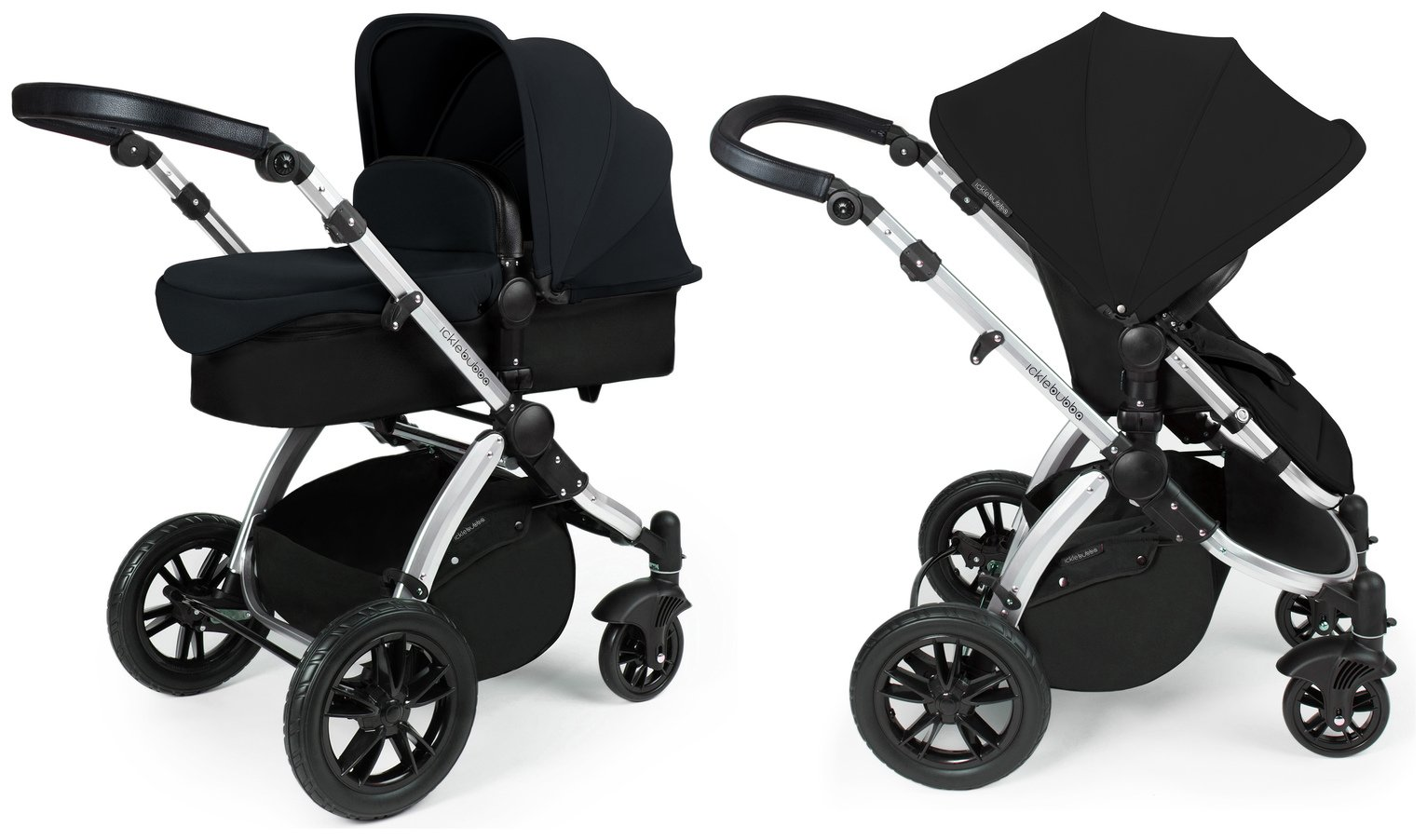 Ickle Bubba Stomp V2 2 in 1 Pushchair & Carrycot - Black