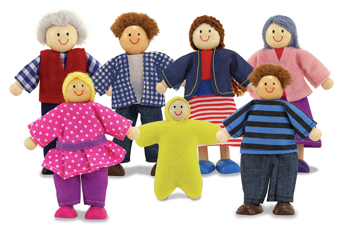 Image of Melissa and Doug Wooden Doll Family.