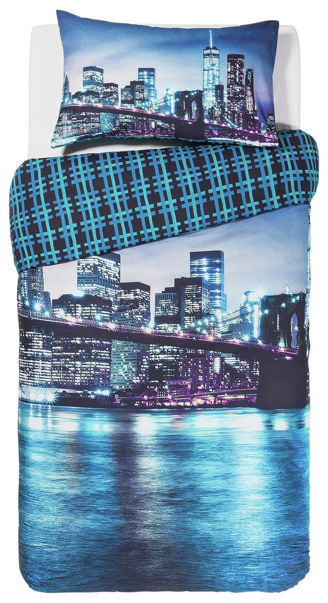collection new york digital print bedding set  single