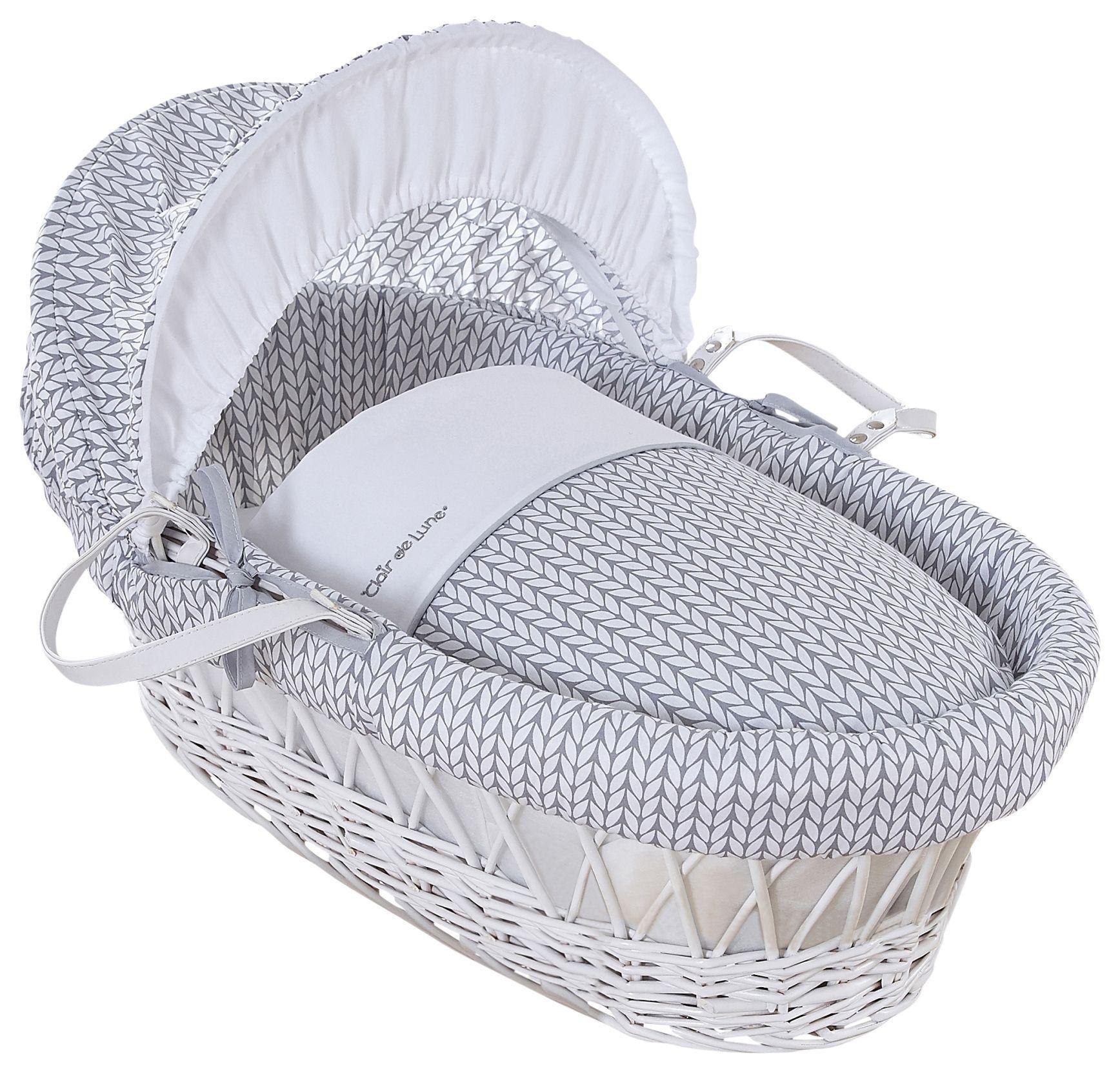 Image of Clair de Lune Barley B??b?? White Wicker Moses Basket - Grey.