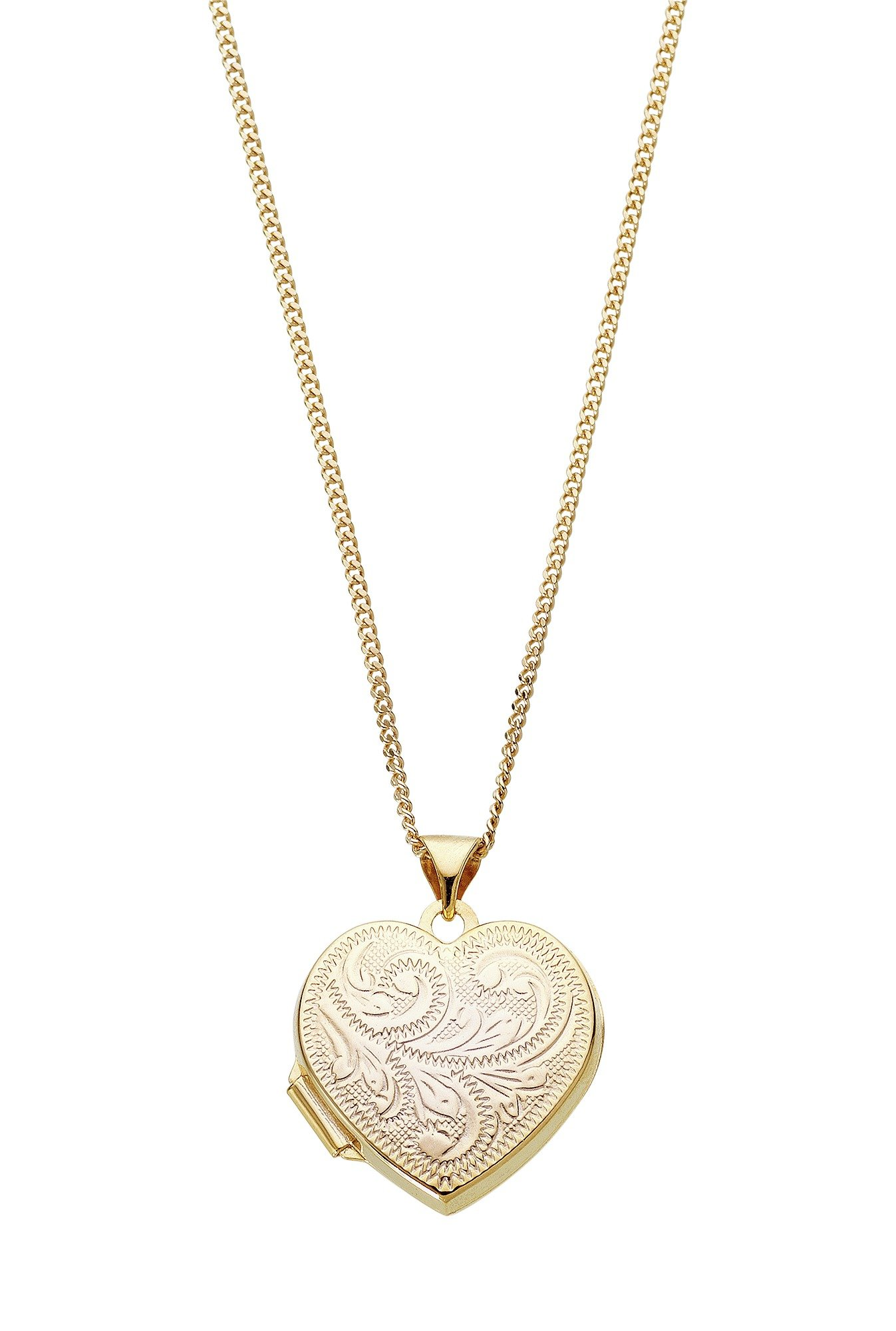 Moon & Back 9ct Gold Plated Heart Locket  Pendant Necklace