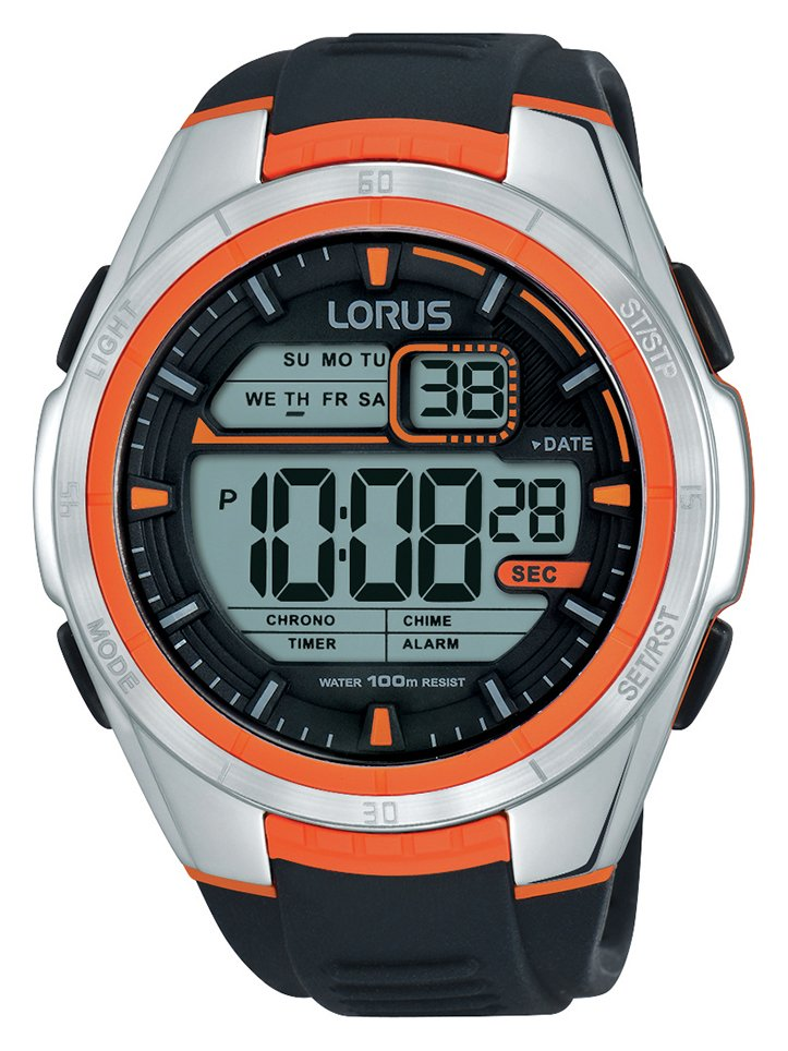 Lorus Men's Black Silicon Strap Orange Detail Digital Watch