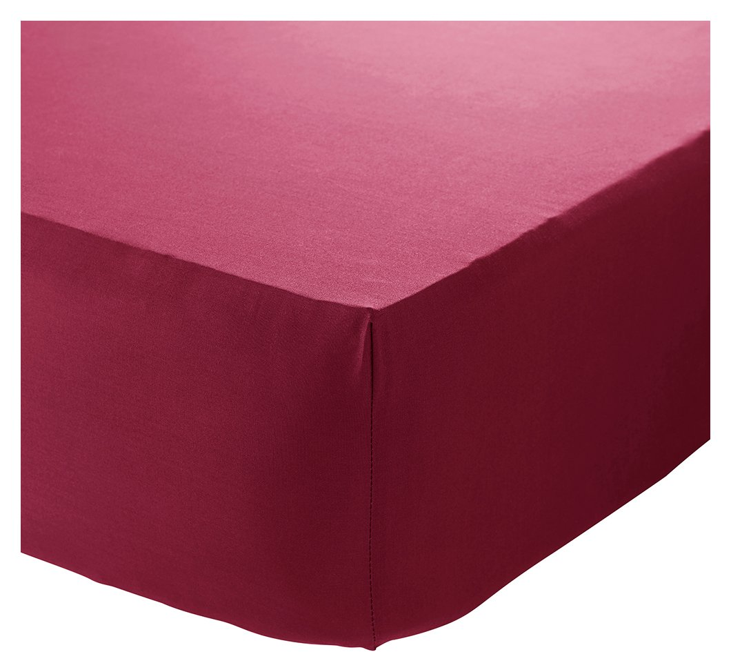 catherine lansfield red noniron fitted sheet  single.