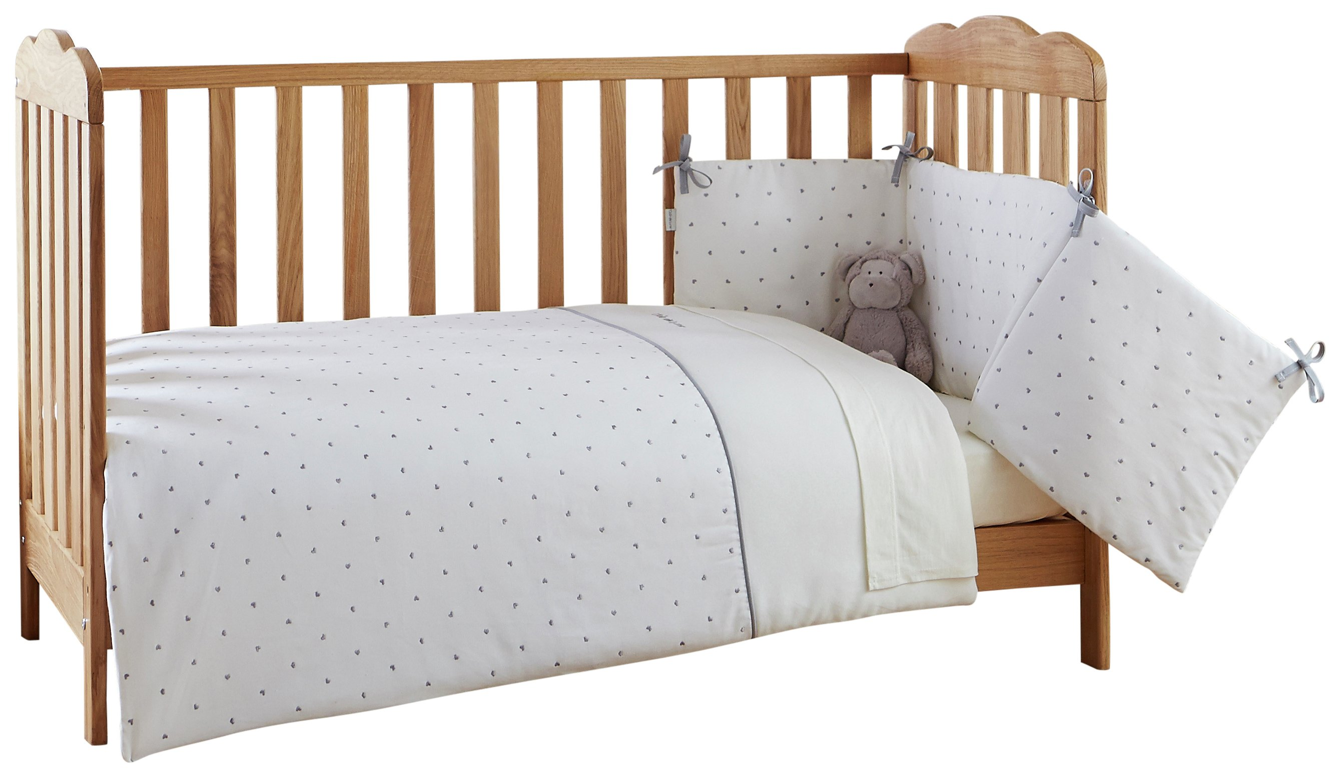 clair de lune  lullaby hearts  cot/cot  bed quilt and bumper set