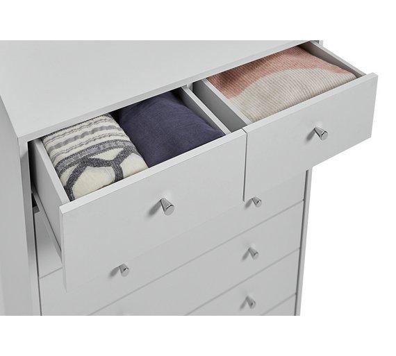 Buy Argos Home Malibu 5 Wide 2 Narrow Drawer Chest - White | Chest ...