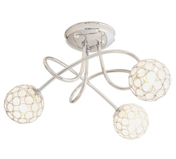 Where To Buy Ceiling Lights: Buy Collection Amelia 3 Light Beaded Globes Ceiling Light