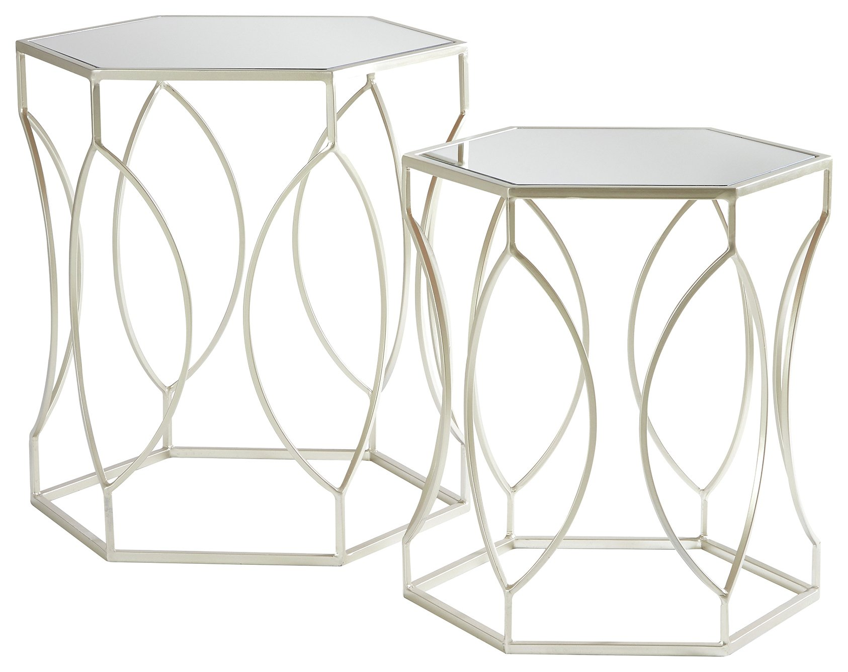 Premier Housewares Nest of 2 Tables - Brushed Champagne