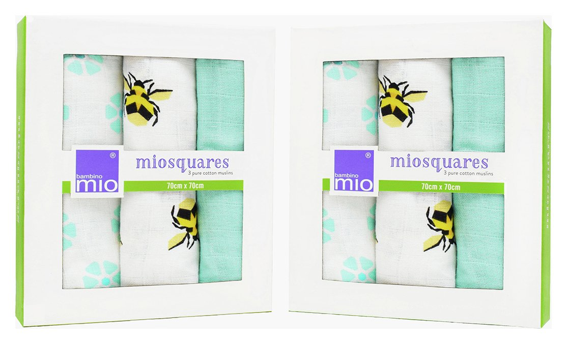 Image of Bambino Mio Muslin Squares Bumble - 3 Pack x 2.