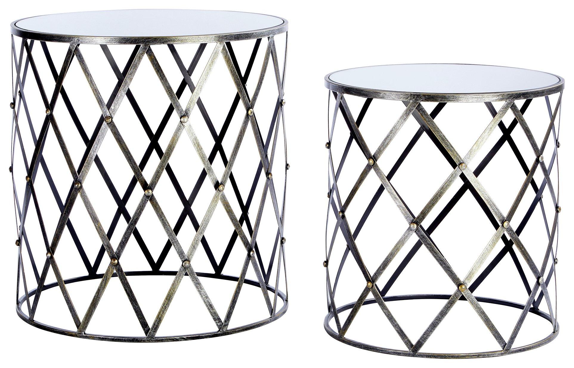 Premier Housewares Avantis Nest of 2 Tables - Silver Frame