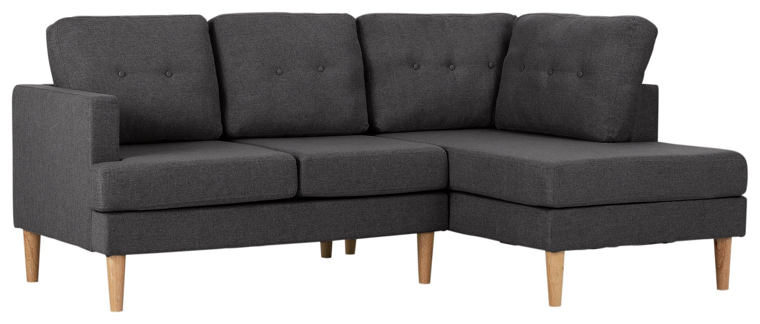 Argos Home Joshua Right Corner Fabric Sofa - Charcoal