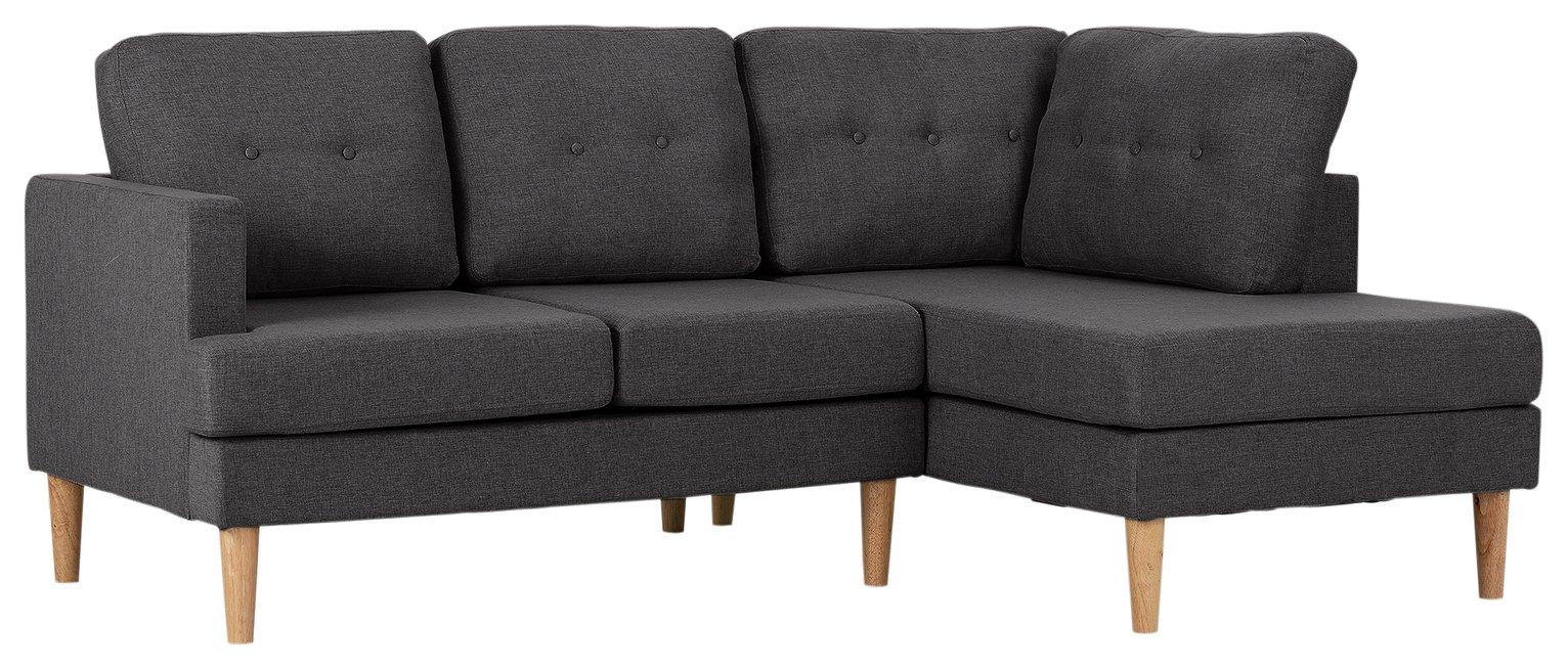 'Home - Joshua - Fabric Right Hand Corner Sofa - Charcoal