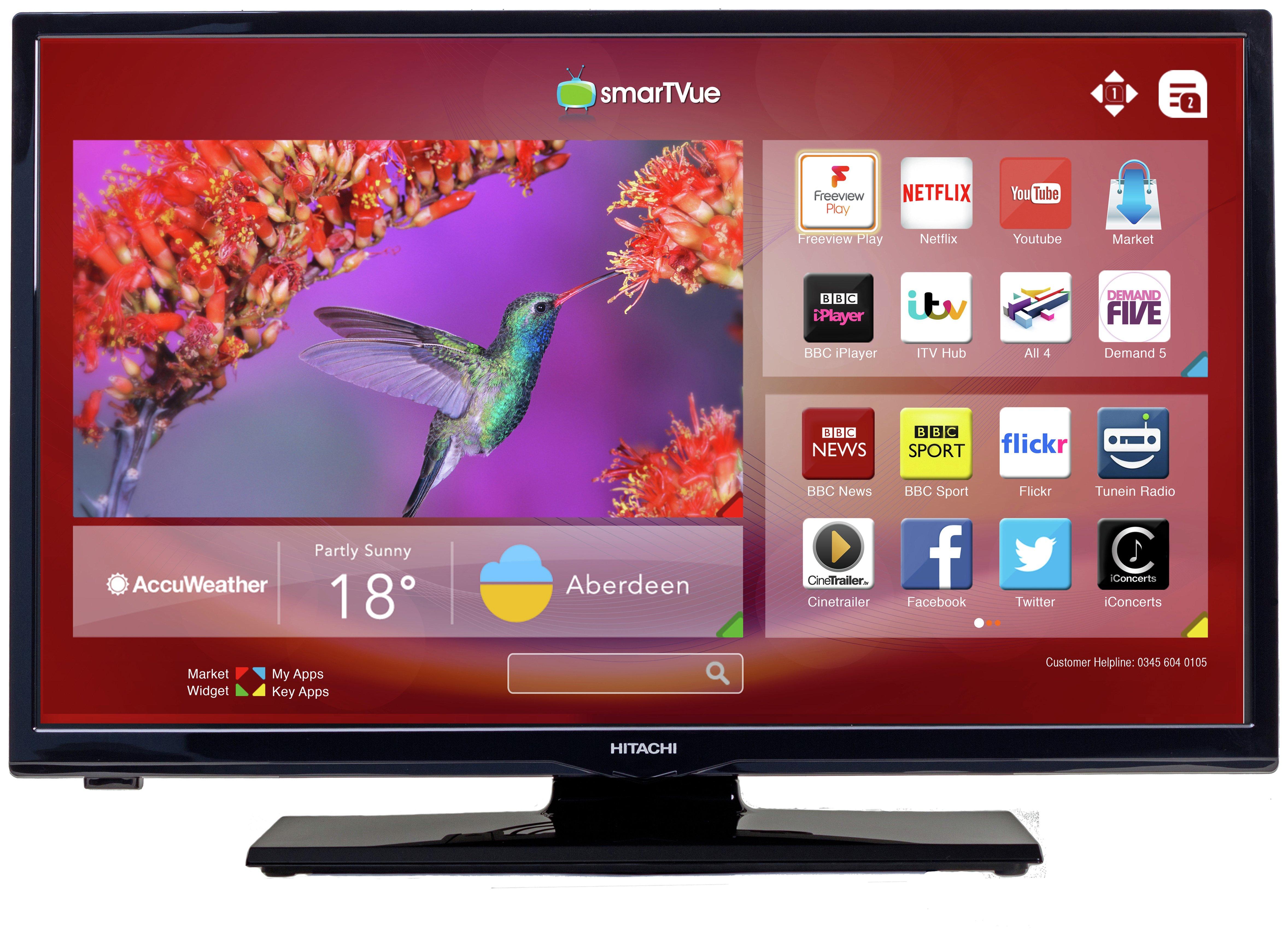 hitachi 24 inch smart tv. hitachi 24 inch hd ready freeview play smart led tv tv argos