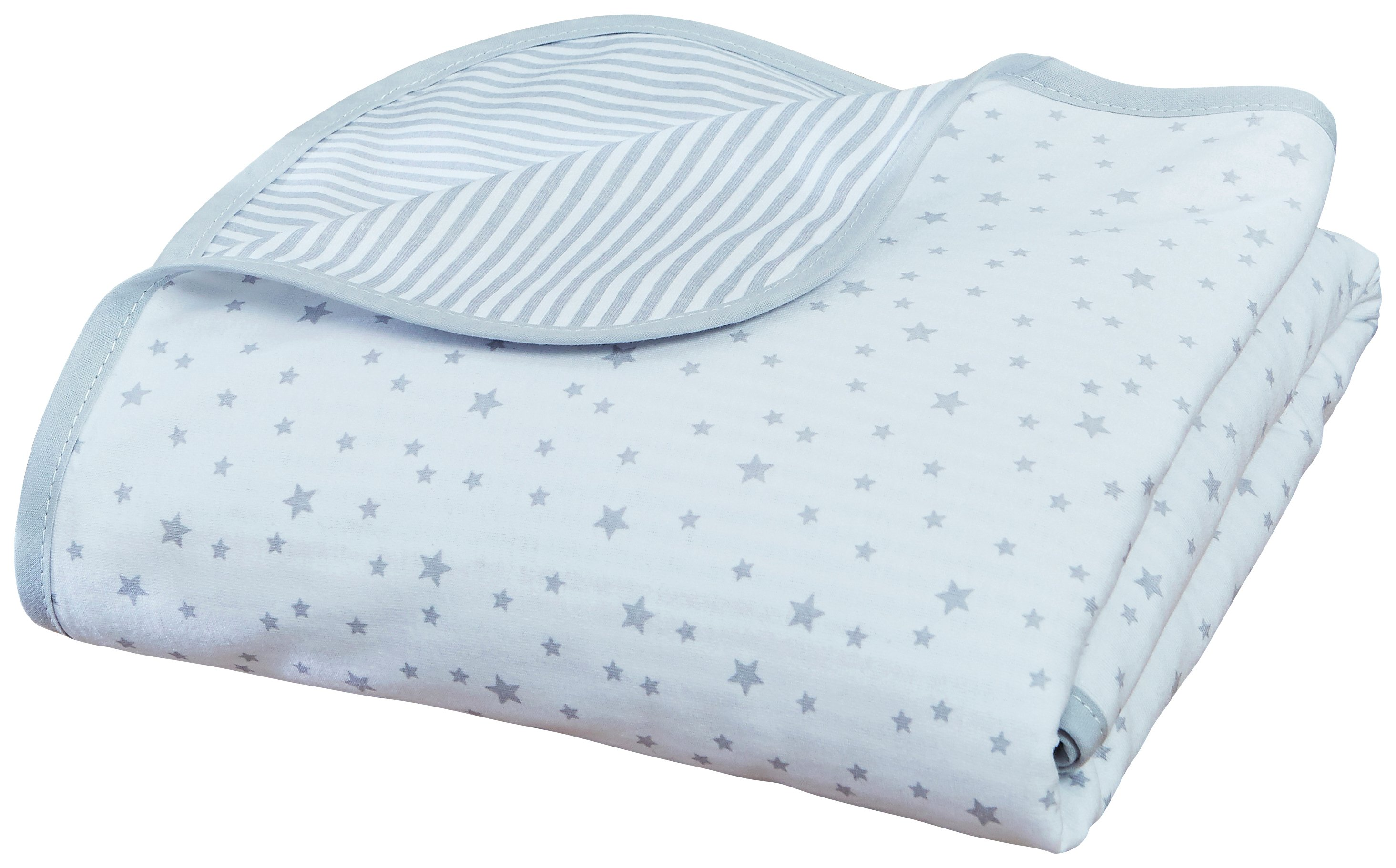 Clair De Lune Stars and Stripes Cot Blanket - Grey.