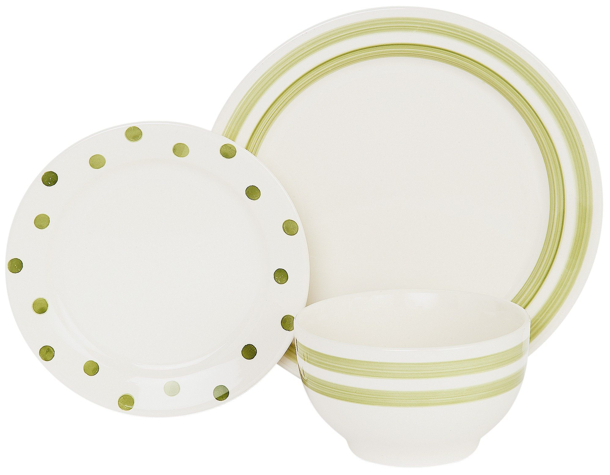 Image of HOME - 12 Piece Country Stripes Dinner Set - Green