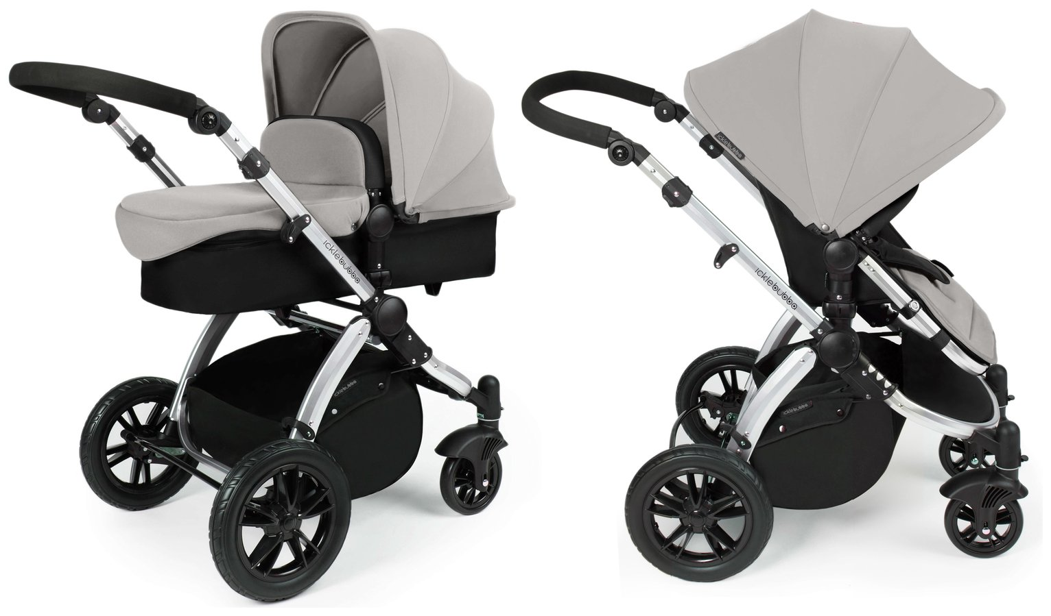 Ickle Bubba Stomp V2 2 in 1 Pushchair & Carrycot - Silver
