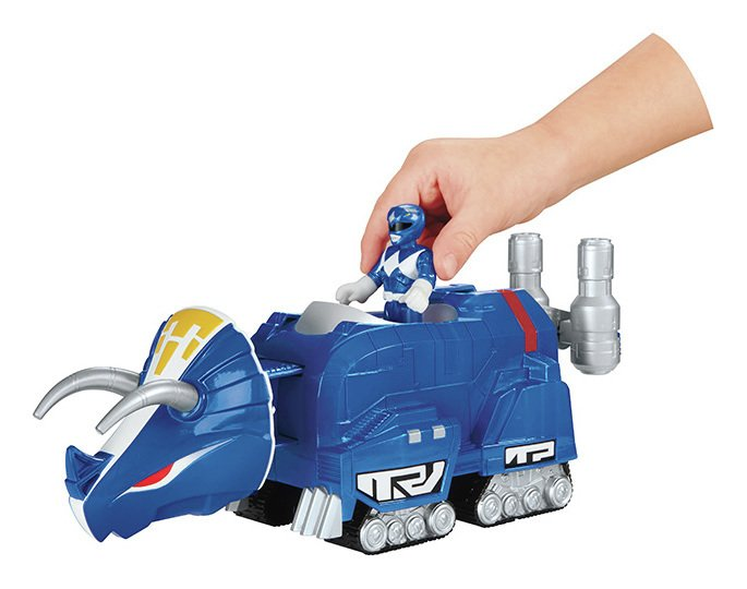 Image of Imaginext Power Rangers Blue Ranger & Triceratops Zord
