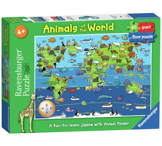 Buy ravensburger animals of the world 60 piece floor puzzle ravensburger animals of the world 60 piece floor puzzle gumiabroncs Image collections