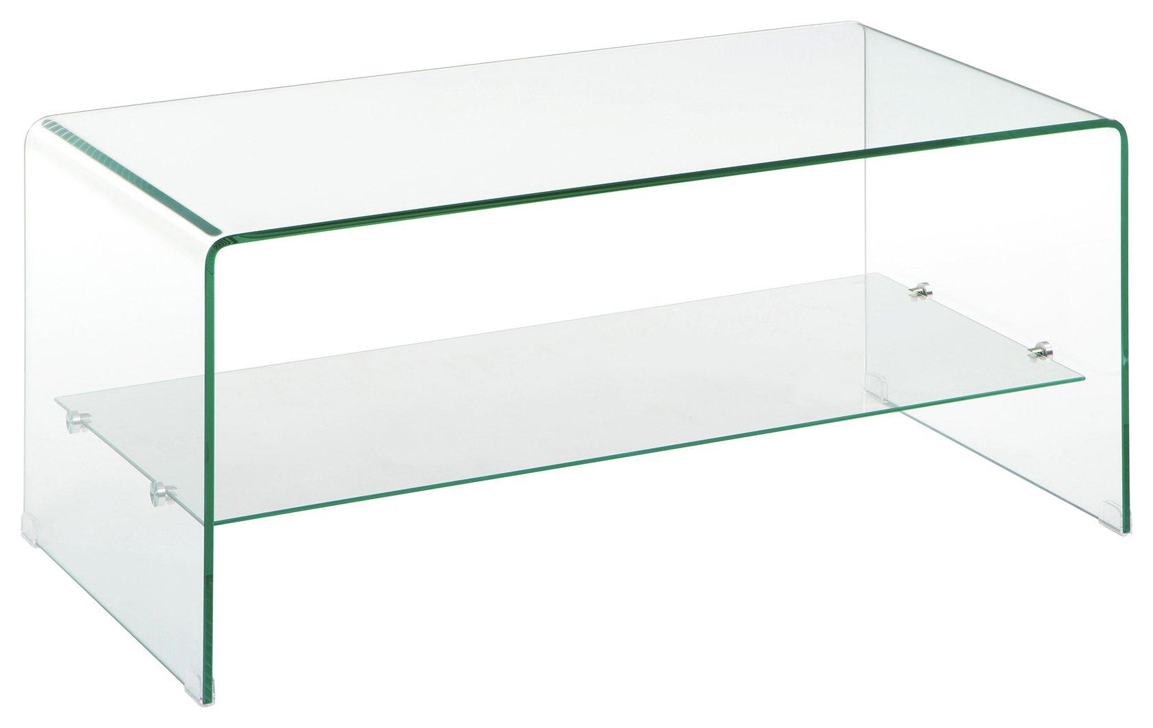 Premier Housewares Matrix 2 Tier Clear Glass Coffee Table