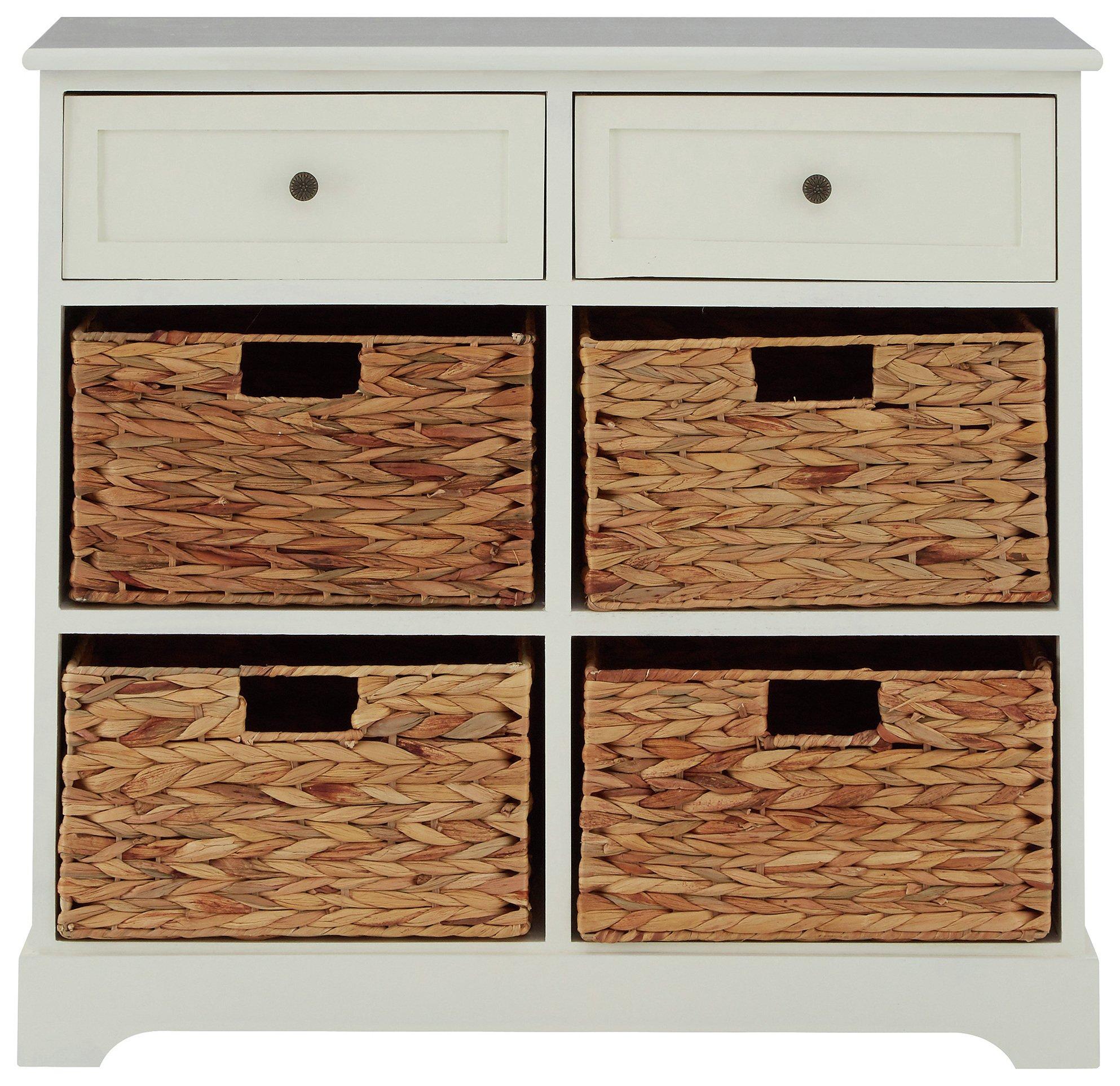 Premier Housewares Vermont 2 Drawer 4 Basket Unit - Ivory.