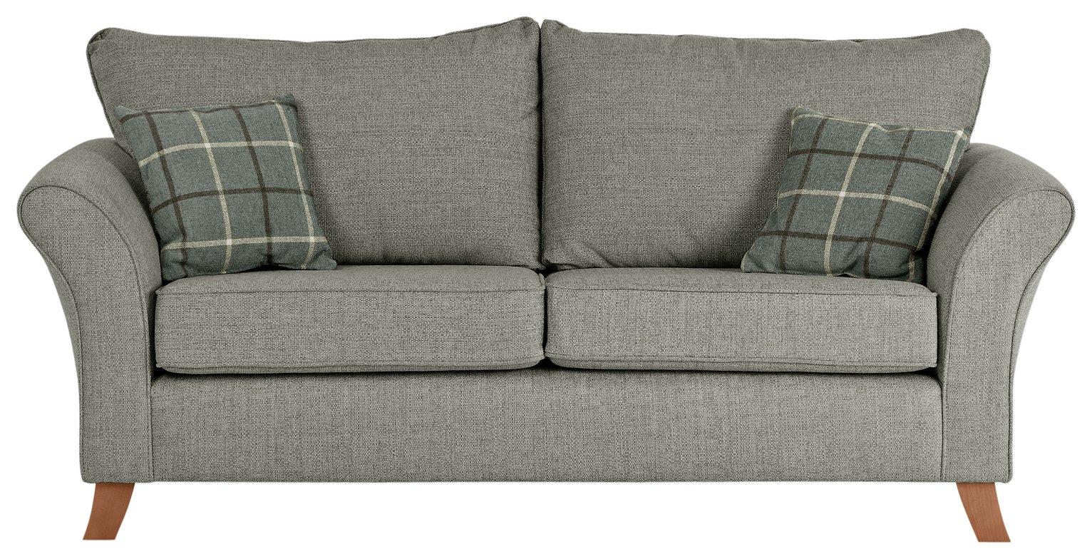 Collection Kayla 3 Seater High Back Fabric Sofa   Grey
