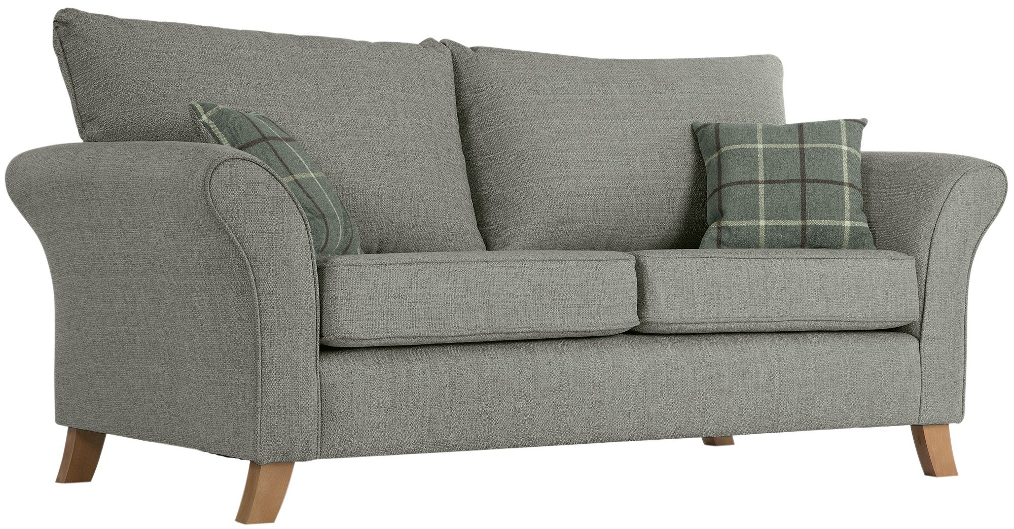 Buy Collection Kayla 3 Seater High Back Fabric Sofa Grey at