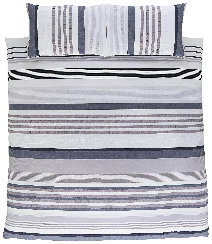 Image of Bianca Cotton Soft Seersucker Stripe Duvet Cover Set -Single