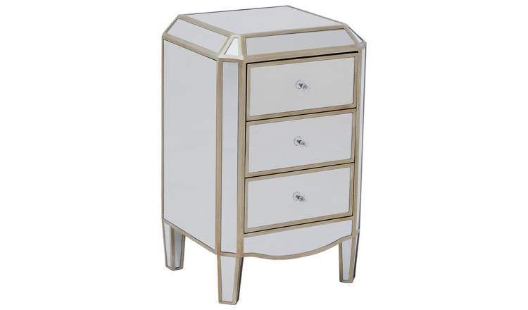 Premier Housewares Tiffany Mirrored 3 Drawer Chest.