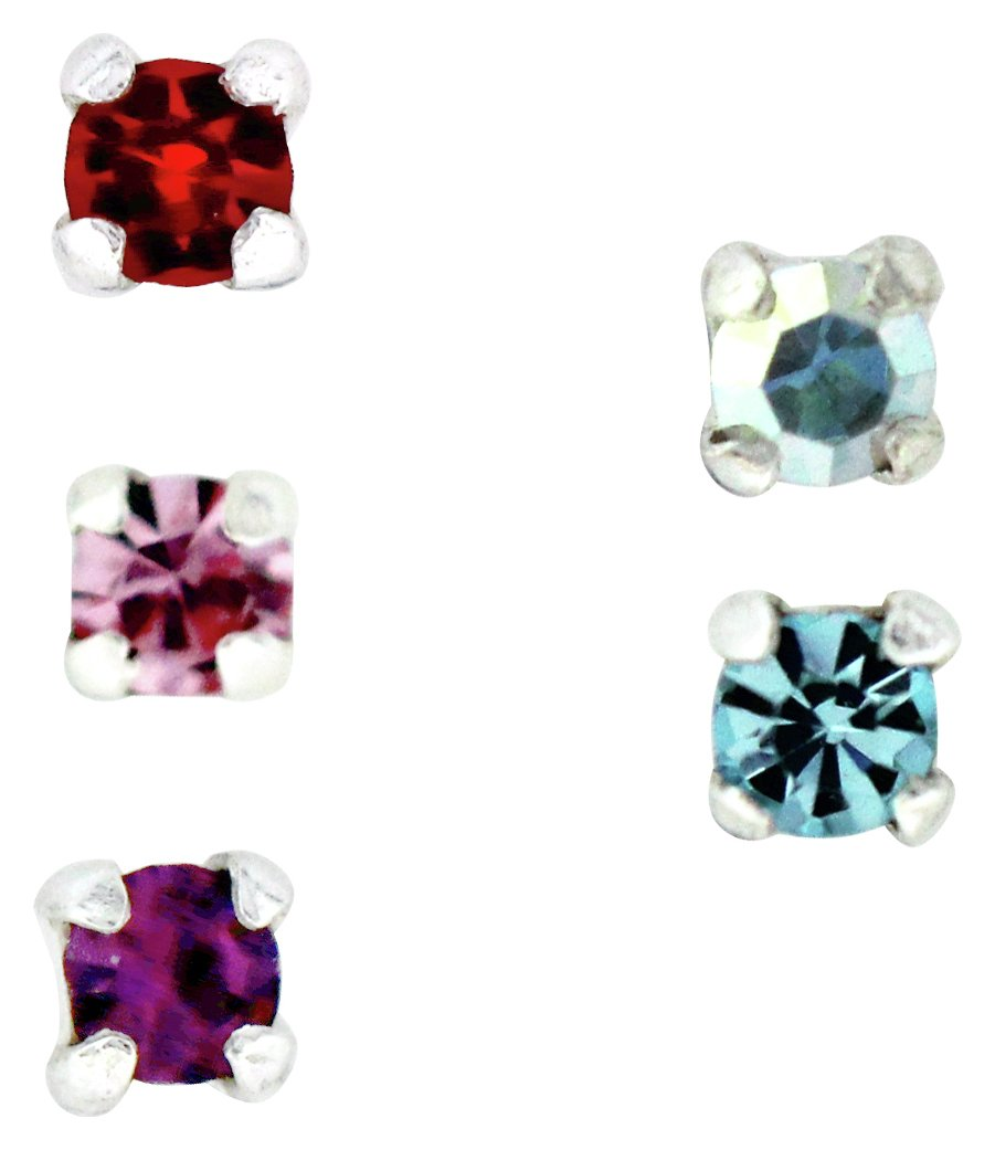 Set of 3 State of Mine 9ct Gold Multicoloured Crystal Set Nose Studs 10mm