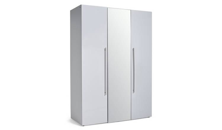 Habitat Atlas 3 Door Mirrored Gloss Wardrobe - White