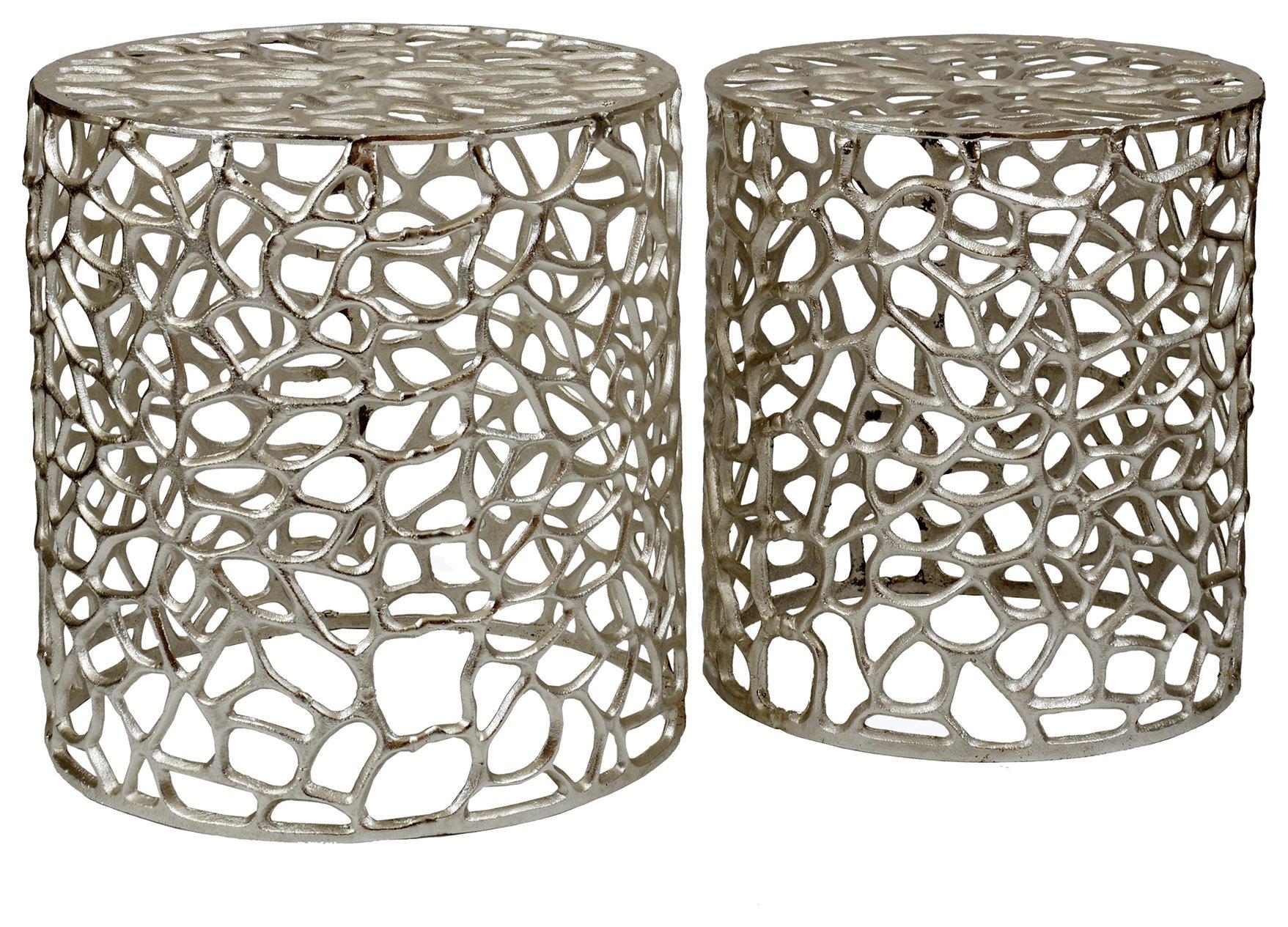 Premier Housewares Templar Set of 2 Aluminium Stools