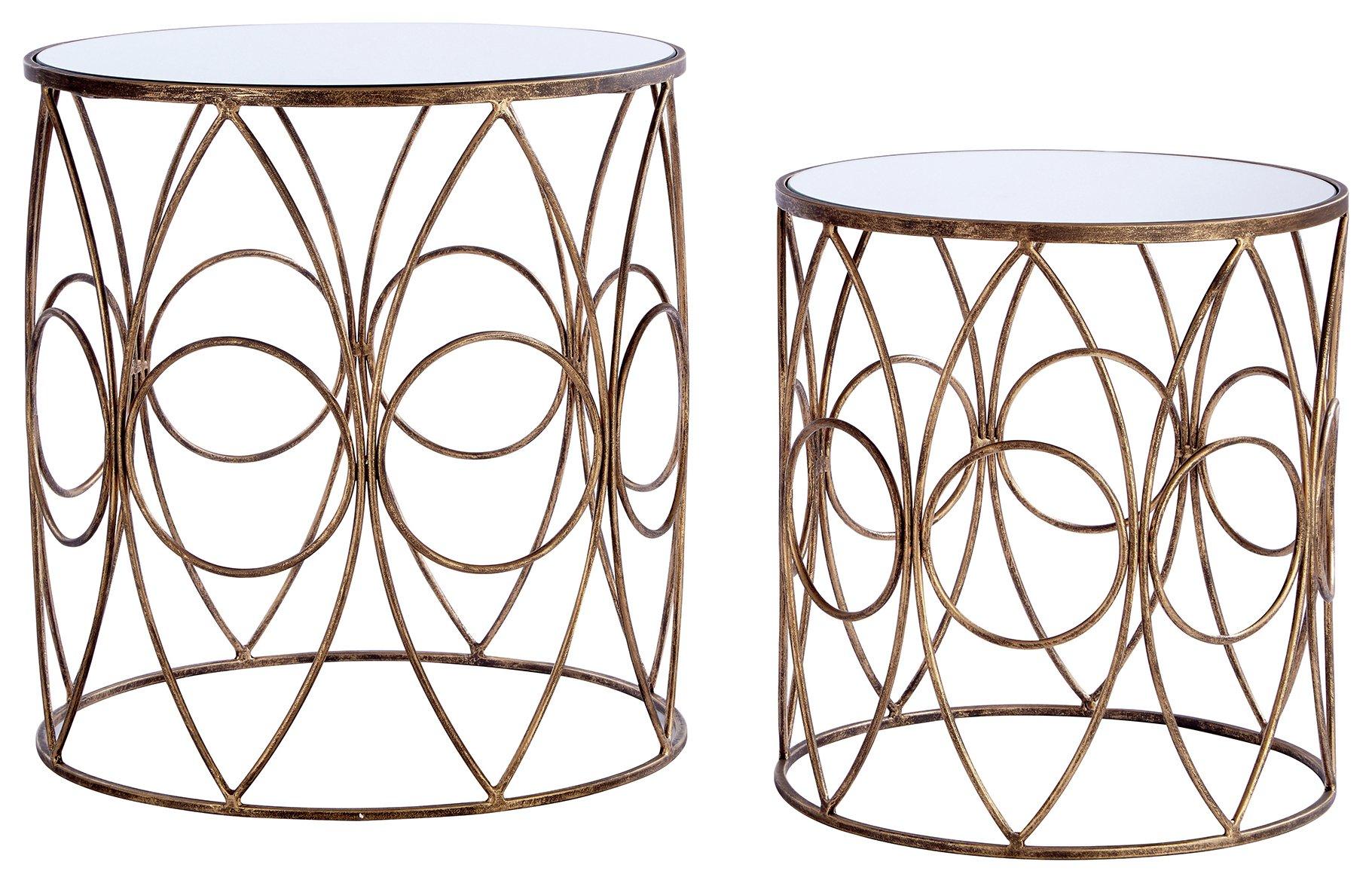 Premier Housewares Avantis Nest of 2 Bronze Framed Tables