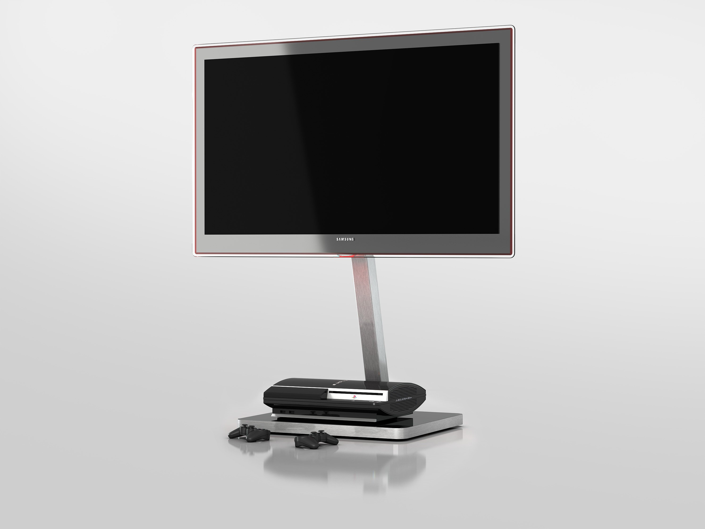 Sonorous TV and Media Stand - Black and Silver