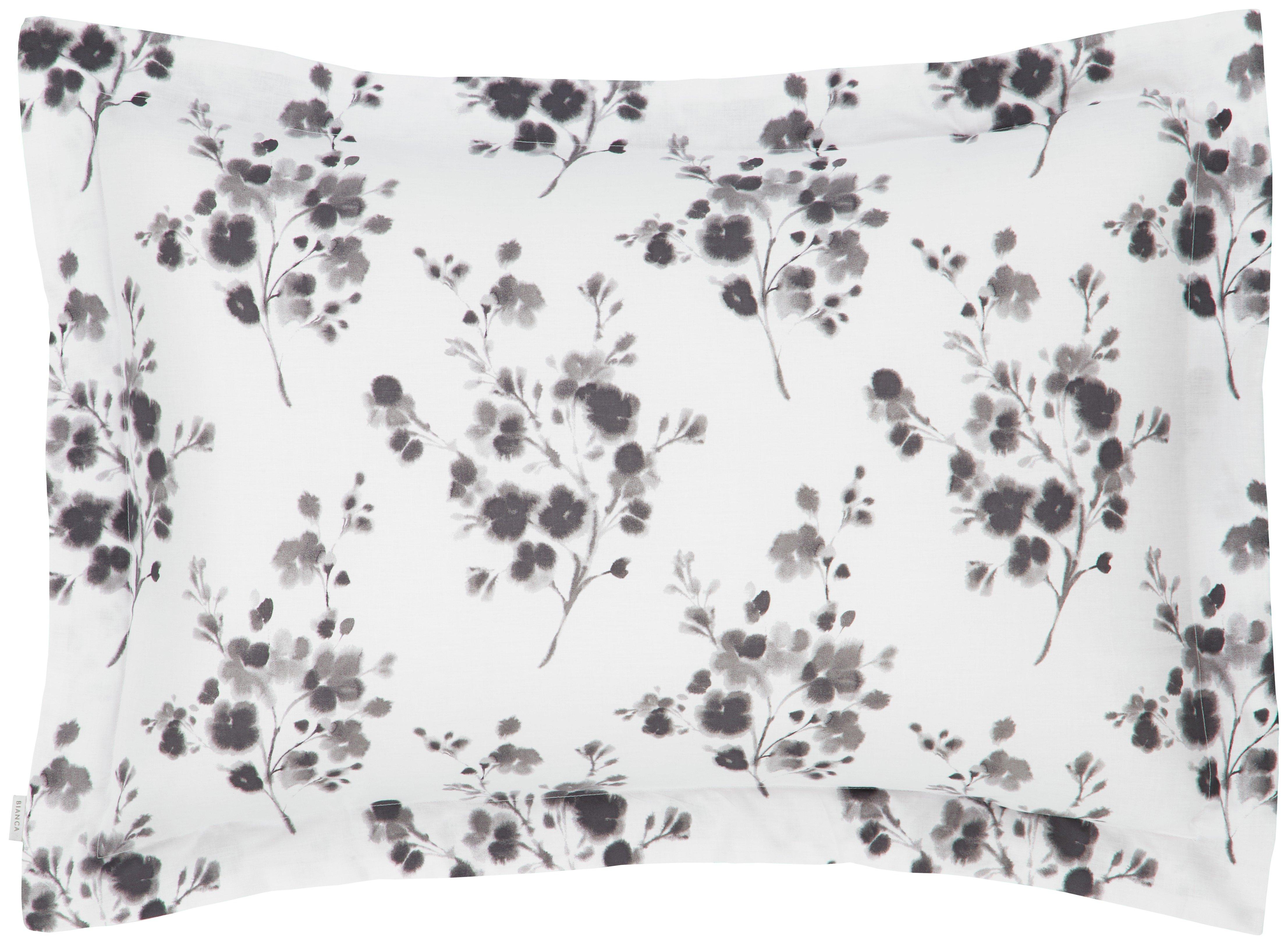 Image of Bianca Cotton - Soft Sprig Grey Oxford Pillowcase
