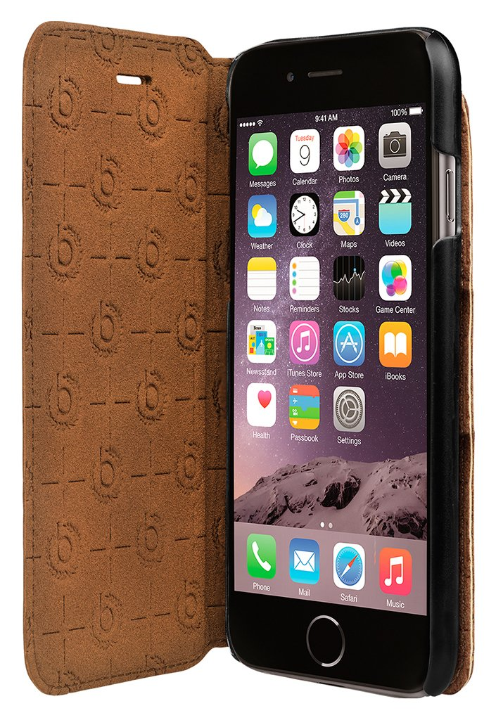Image of Bugatti - for - iPhone - 7 Leather - Booklet - Case - Cognac