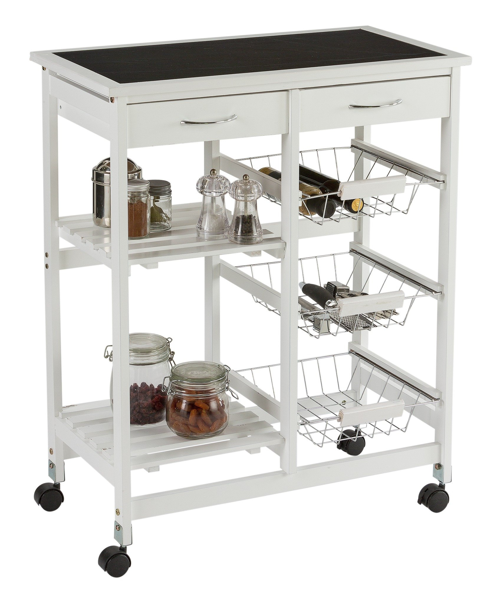 Image of Collection - Kitchen Trolley with Slate Effect Glass Top-White