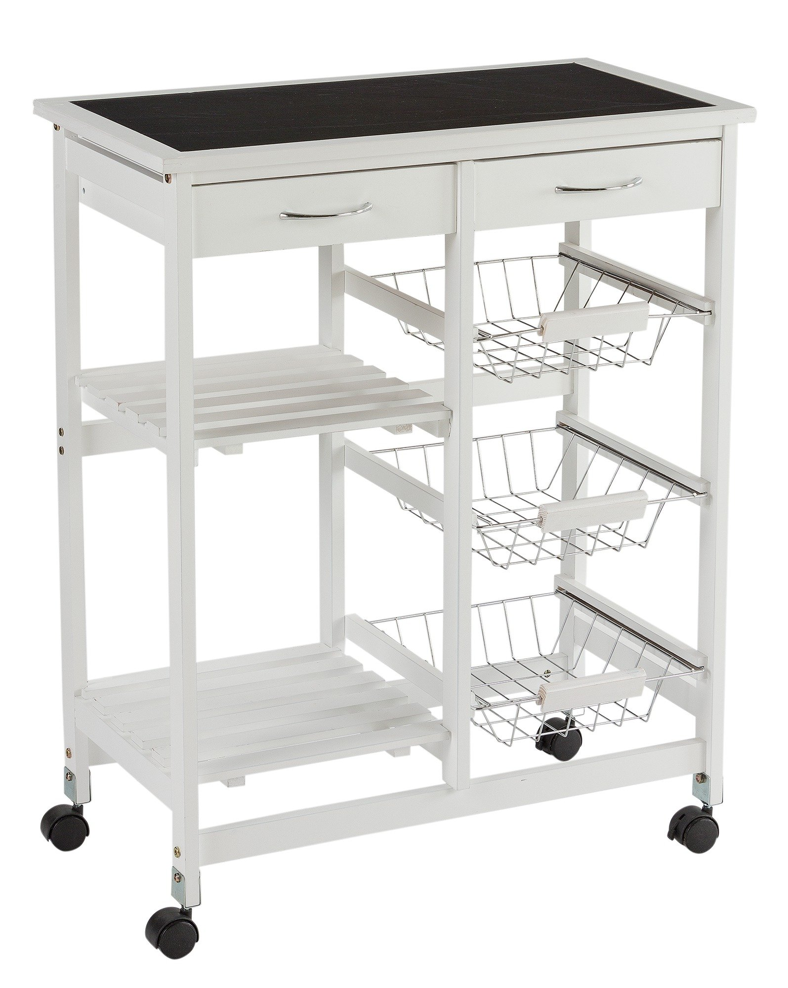 White Kitchen Trolley buy collection kitchen trolley with slate effect glass top-white