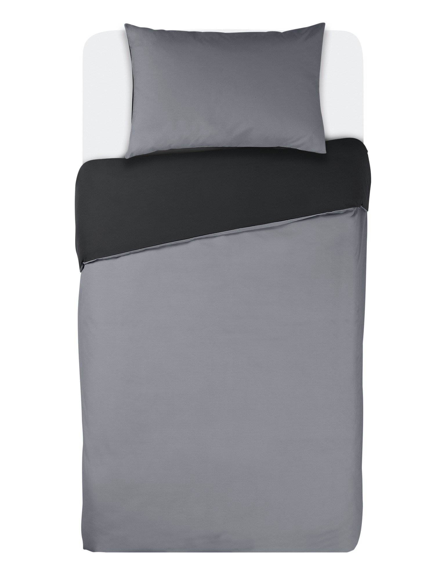 colourmatch jet black/flint grey bedding set  single