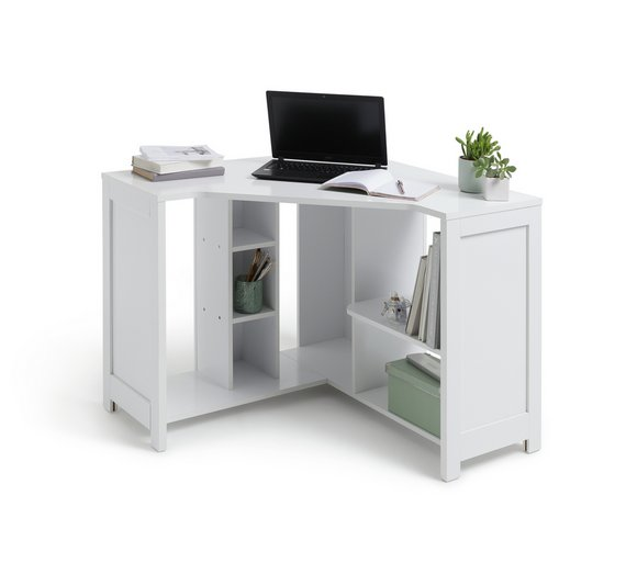 fixed corner office with pedestal high desk rotating siena white gloss coner ped right computer handed
