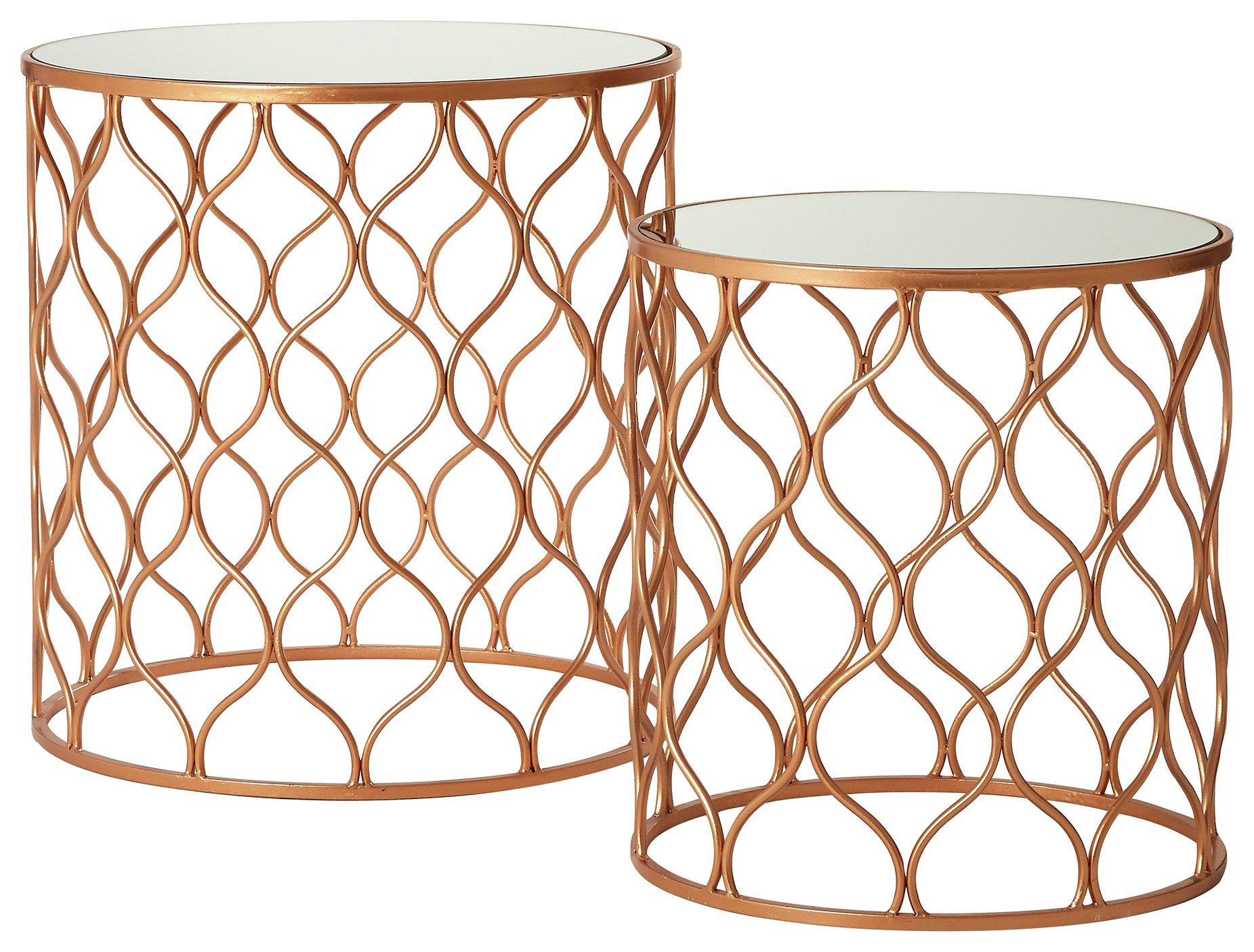 Premier Housewares Avantis Nest of 2 Tables - Bronze Frame