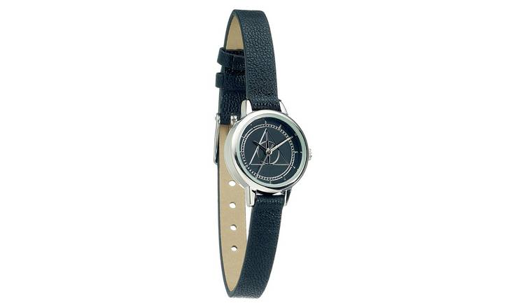 Harry Potter Deathly Hallows Black Faux Leather Strap Watch