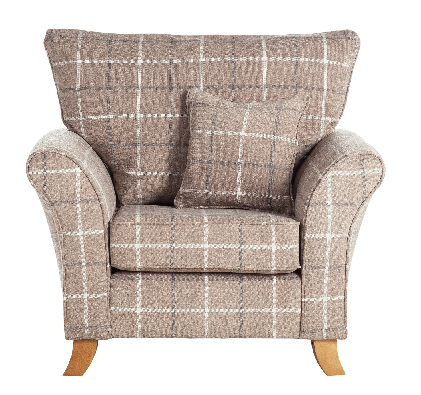 Argos Home Kayla Windowpane Fabric Armchair - Beige