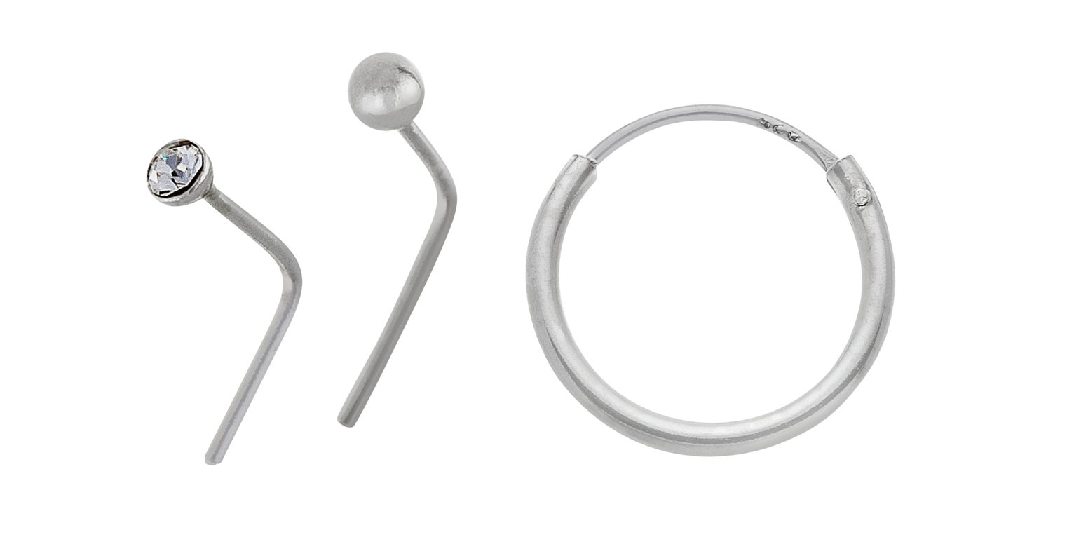 Buy State of Mine Sterling SilverNose Hoop and Studs Set of 3 at
