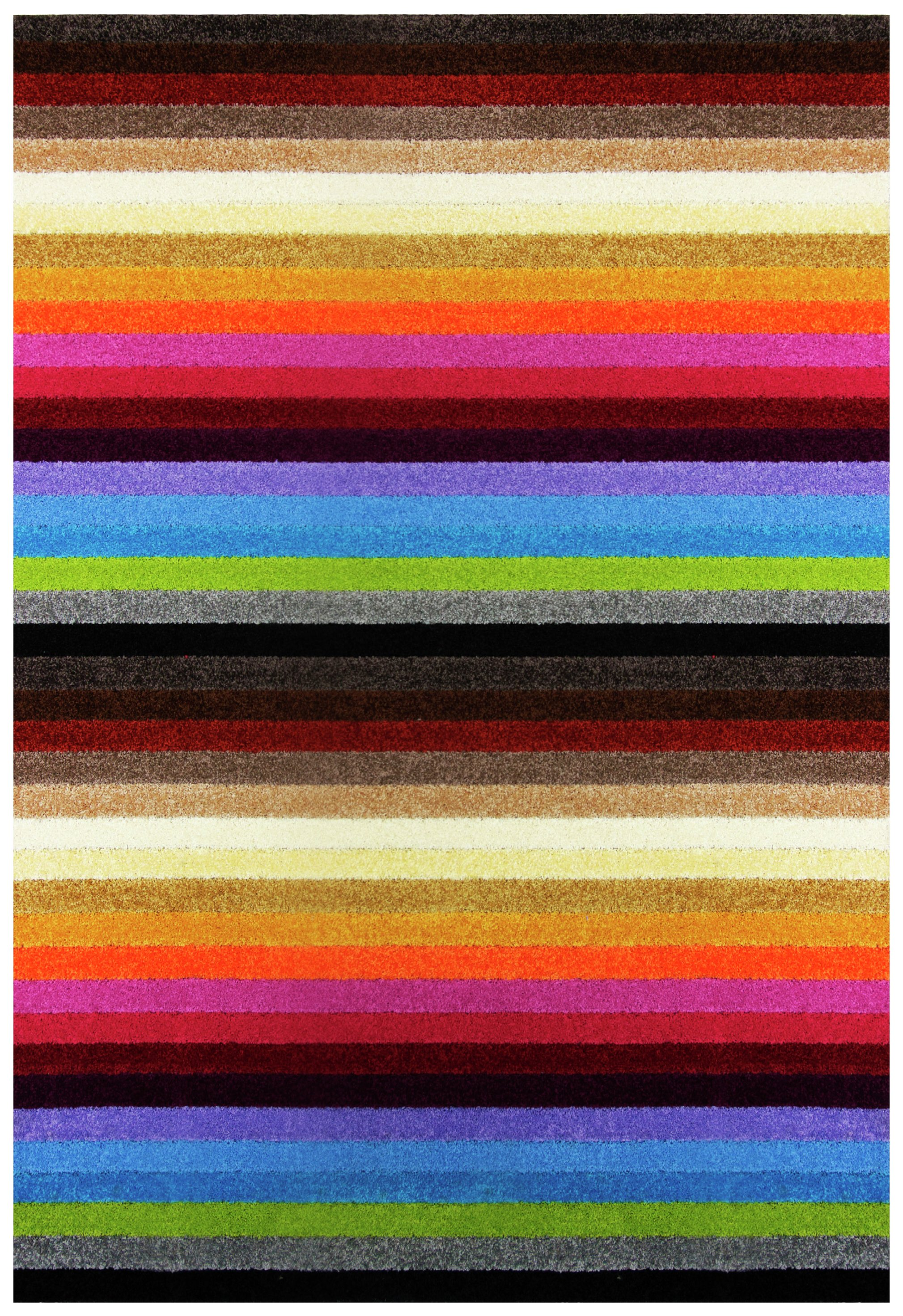 Image of Linea Stripe Washable Rug - 100 x 66cm - Rainbow.