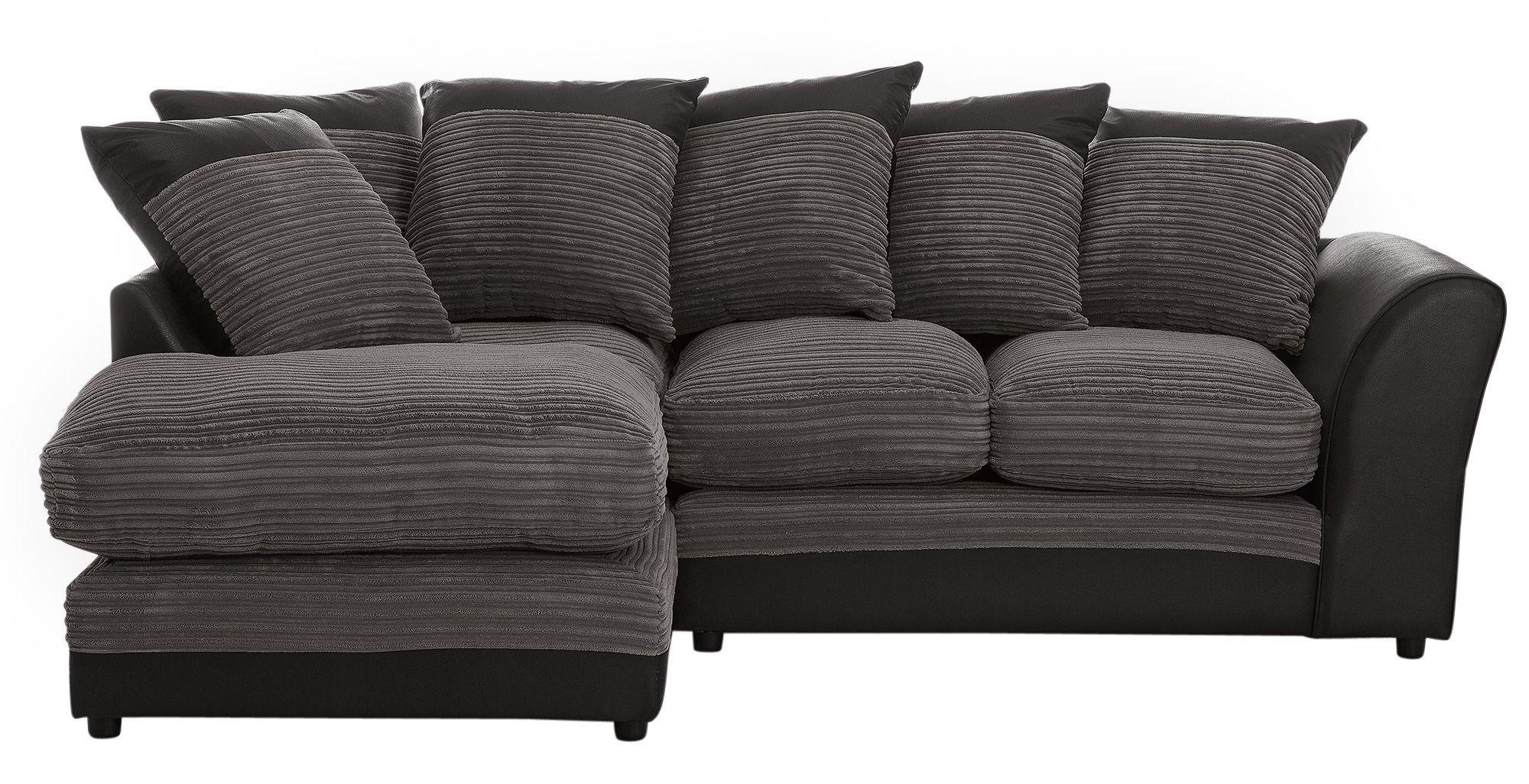 'Home - Harley Regular - Fabric Left Hand Corner Sofa - Charcoal