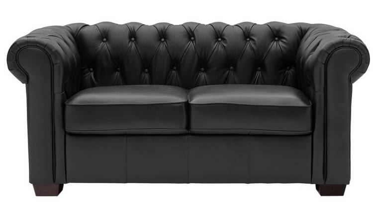 Buy Argos Home Chesterfield 2 Seater Leather Sofa - Black | Sofas | Argos