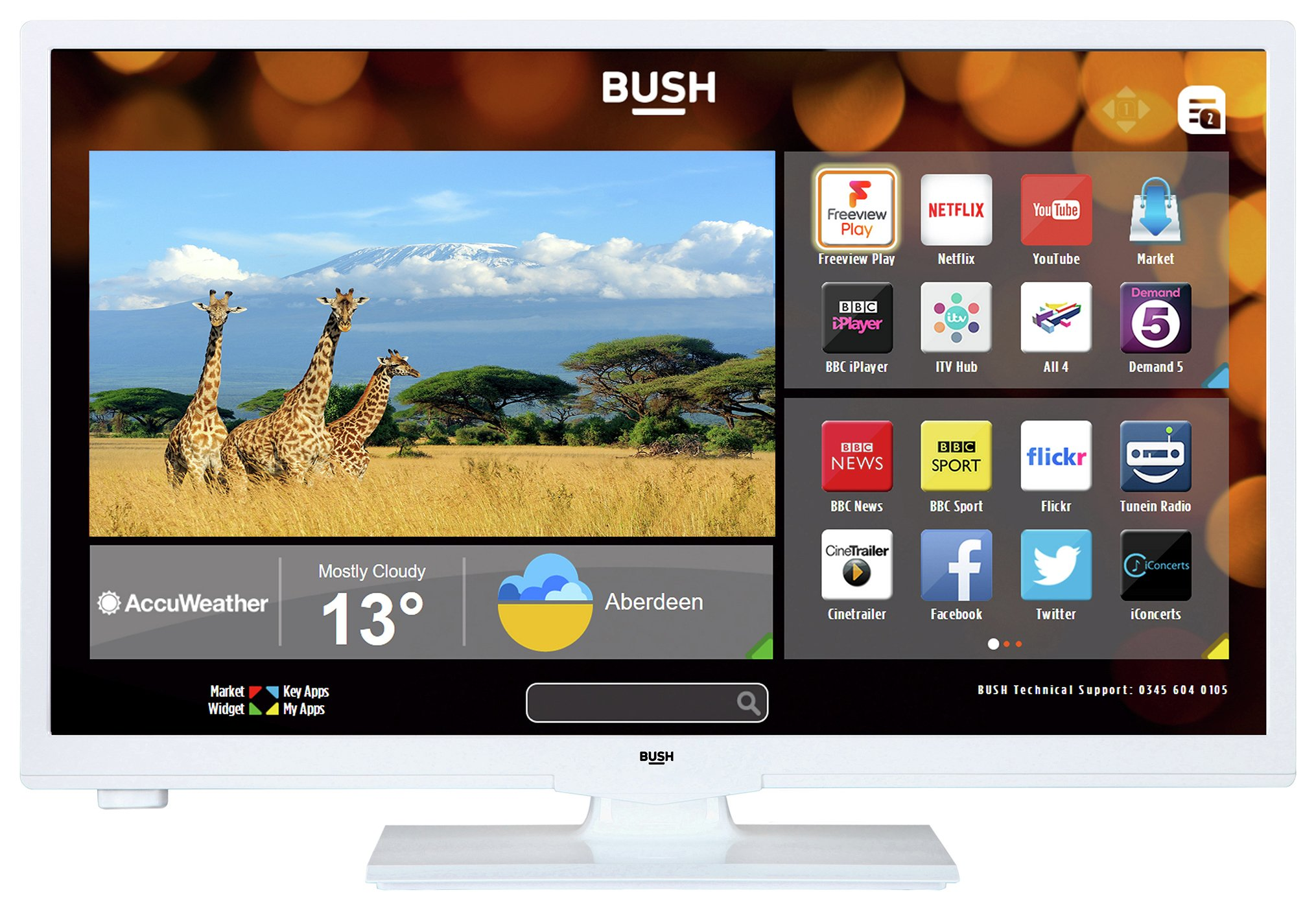 Image of Bush 24 Inch HD Ready Smart TV With DVD Player - White