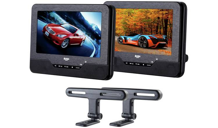 Bush 7 Inch Dual Screen In - Car DVD Player - Black