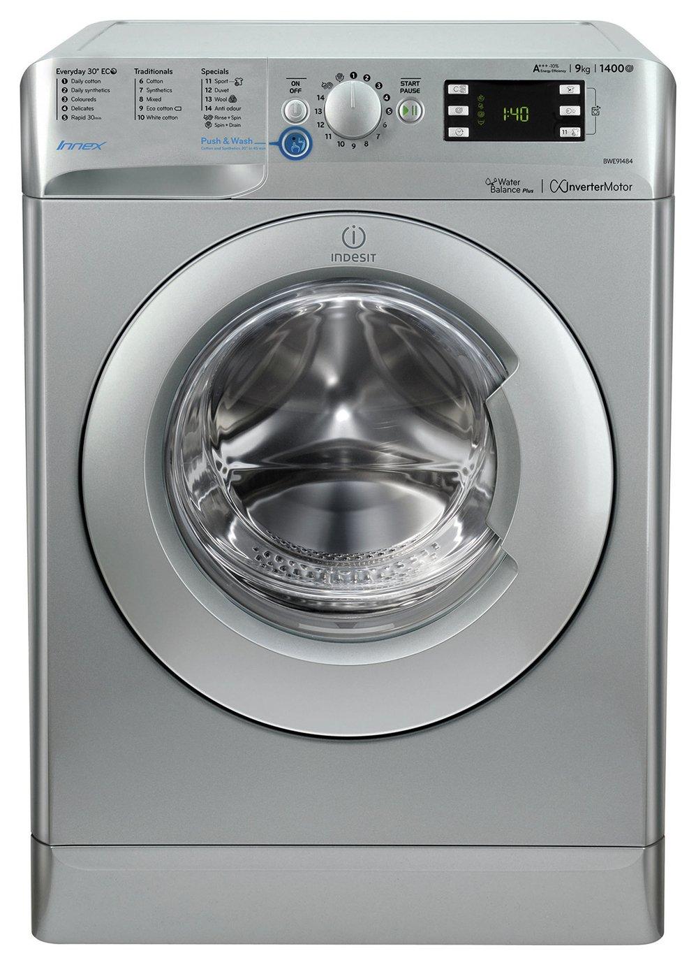 Image of Indesit BWE91484X 9KG 1400 Spin Washing Machine - Silver.