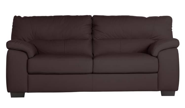 Buy Argos Home Piacenza 3 Seater Leather Sofa - Walnut | Sofas | Argos